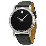 Movado Museum Black Dial Black Leather Strap Men's Watch 2100002 $175