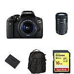 Canon EOS Rebel T6i Digital SLR Camera with EF-S 18-55mm + 55-250mm Lens and more $549