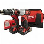"Milwaukee M18 Compact 1/2"" Drill Driver / Impact Driver Combo Kit $155"
