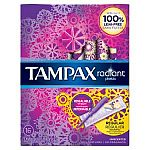 16-Count Tampax Radiant Plastic Unscented Tampons $2.77 and more