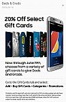 Dad's & Grads 20% Off Select Gift Cards via Samsung Pay