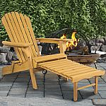 Outdoor Adirondack Wood Chair Foldable w/ Pull Out Ottoman $70