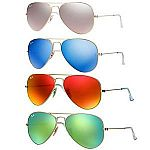 Ray Ban RB 3025 Mirrored Flash Lens Unisex Aviator Sunglasses $80