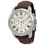 Fossil Grant Chronograph Egg Shell Dial Brown Leather Mens Watch FS4735 $55
