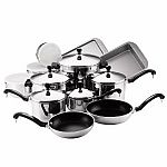 Farberware Classic Stainless Steel 17-Piece Cookware Set $36