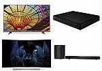"LG 4k HDTV Home Entertainment Bundle: LG 65"" Curved OLED Smart 4K TV 65EG9600 + LG 55UH6150 Smart 4K UHD TV + LG LAS450H Sound bar system + LG BP155 Blu-ray disc player $3499"