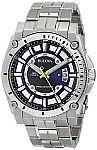 Bulova Men's 96B131 Precisionist Black Dial Steel Bracelet Watch $120
