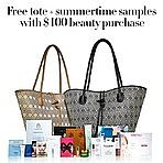 Free Tote with Summertime Samples with Your Beauty Purchase over $100