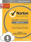 Norton Security Premium - 10 Devices (download code) $28