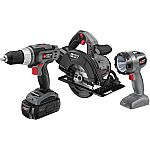 Porter Cable 18 Volt Ni-Cad 3-Piece Tool Combo Kit $49