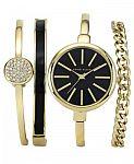 Anne Klein Women's Interchangeable Gold-Tone Bangle Bracelets & Watch Set 32mm AK-1470GBST 2 for $157.5