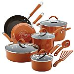 Rachael Ray Cucina Hard Porcelain Enamel Nonstick Cookware Set, 12-Piece, Pumpkin Orange $91