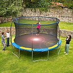 Bounce Pro 14 ft Trampoline and Enclosure $209, 12' Trampoline with Flash Light Zone and Enclosure $189