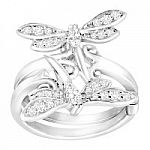 Dragonfly Swing Ring with Cubic Zirconia in Sterling Silver over Brass $29