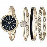 Anne Klein Women's AK/1470 Bangle Watch and Bracelet Set $86