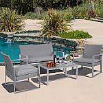 4PC Patio Furniture Set Cushioned Outdoor Wicker Rattan Garden Lawn Sofa $195