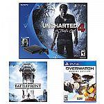 Sony PS4 Slim uncharted 4 console + Overwatch + StarWar Battle $310