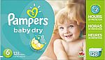 Pampers Baby Dry Diapers Size 6, 128 Count $25 (Prime)