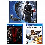 Playstation 4 slim uncharted 4 console + Overwatch + Metal Gear Solid V $310