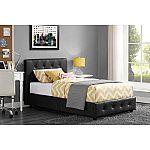 Dakota Faux Leather Upholstered Bed & Mattress Bundle, Queen $258