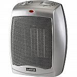 Lasko Silver Ceramic Heater with Adjustable Thermostat $20