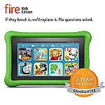 """Amazon Fire Kids Edition 7"""" 8 GB Tablet, Displa with Green Kid-Proof Case $70"""