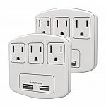 2 Pack: Stanley PlugMax 3-Outlet/2-USB 2.1 Amp Fast Charging Wall Adapter $20