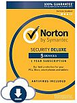 Norton Security Deluxe - 5 Devices (online code) $20