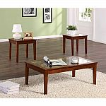 Dorel Home Furnishings 3-Piece Walnut Occasional Table Set $52 + $15 Back in Points