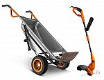 WORX WG050 + WG119 8-in-1 Wheelbarrow AeroCart + 2-in-1 Electric Trimmer / Edger $120