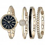 Anne Klein Women's AK/1470 Bangle Watch and Bracelet Set $86