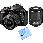 Nikon Refurbished D5500 24.2MP DSLR with 18-55mm & 55-200mm VR II Lenses Bundle $629