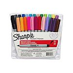 Sharpie Ultra-Fine-Point Permanent Markers, 24 Colored Markers $10