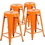"""4-pk Flash Furniture Backless Metal Stool with Round Seat, 24"""" $43"""