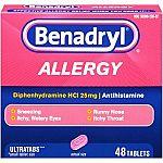 Benadryl Allergy Ultratab Tablets, 48-Count $3.50