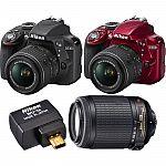Nikon D3300 24.2 MP DSLR Camera & 18-55mm & 55-200mm VR Lens Wifi Adapter Bundle (Manufacture Refurbished) $399