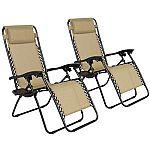 2 Folding Zero Gravity Reclining Lounge Chairs+Utility Tray Outdoor Beach Patio $49.99
