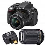 Nikon D3300 24.2MP DSLR Camera (Factory Refurbished) + 18-55mm & 55-200mm VR II Lenses + Kit $399