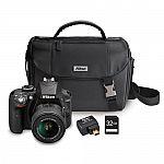 Nikon D3300 24.2MP DSLR Digital Camera (Refurbished ) + 18-55 VR II Lens + WiFi Adapter + Case + 32GB Card $380