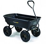 "Gorilla Garden Carts: Poly Dump Cart w/ 10"" Pneumatic Tires $57 and more"