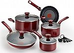 T-fal C514SE Excite Nonstick Thermo-Spot Dishwasher Safe Oven Safe PFOA Free Cookware Set, 14-Piece, Red $50