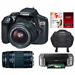 Canon EOS Rebel T6 18MP DSLR Camera w/ 18-55mm + 75-300mm Lenses + Pro 100 Printer Kit $429 (After Rebate)
