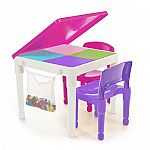 Tot Tutors 2-in-1 Pink Girls Plastic Building Block Compatible Construction Table and 2 Chairs Set $30