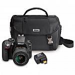 Nikon D3300 24.2MP DSLR Digital Camera (Refurbished ) + 18-55 VR II Lens + WiFi Adapter + Case $339