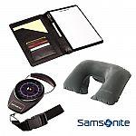 Samsonite Deluxe Travel Kit with Portable Luggage Scale, Neck Pillow, PadFolio Organizer $18