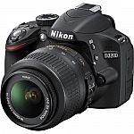 Nikon D3200 24.2 MP CMOS Digital SLR Camera with 18-55mm VR Lens (Refurbished) $299
