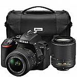 Nikon Refurbished D5500 24.2MP DSLR with 18-55mm & 55-200mm VR II Lenses & Case $679