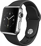 Apple Watch 38mm Stainless Steel w/Black Band (Refurbished) $160