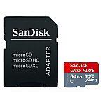 SanDisk 64GB Ultra Plus MicroSDXC UHS-I Memory Card w/ Adapter $16