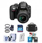 NEW Nikon D3300 24.2 MP DX-Format DSLR Camera Body with 18-55mm VR II Lens Bundle + Accessories $447
